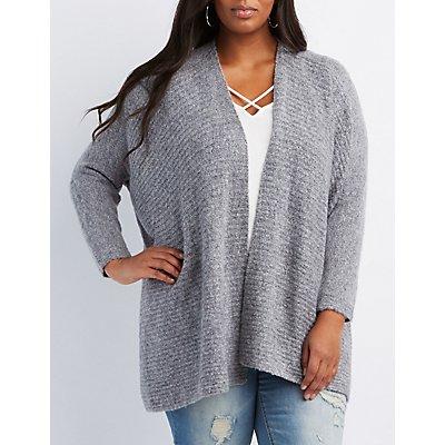 Plus Size Fuzzy Blanket Cardigan