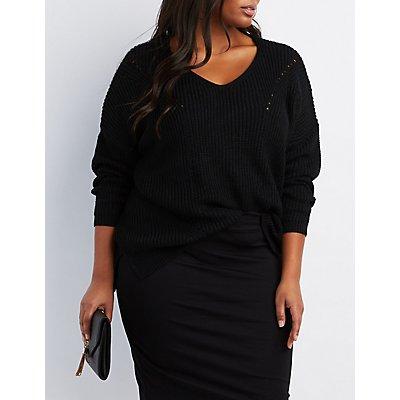 Plus Size Pointelle V-Neck Sweater