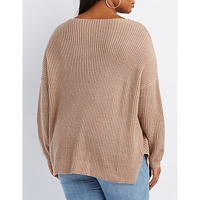 Plus Size Pointelle V-Neck Sweater