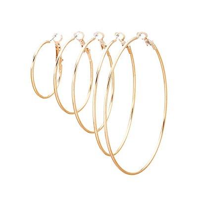 Skinny Hoop Earrings - 5 Pack
