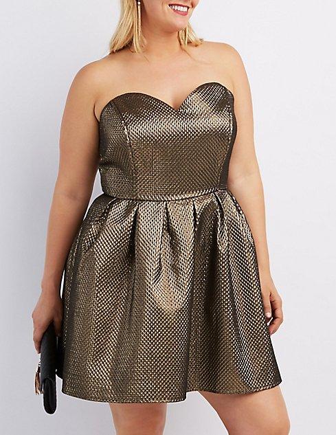 Plus Size Metallic Strapless Skater Dress | Charlotte Russe