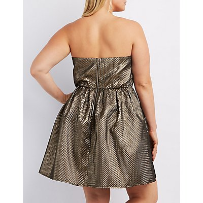 Plus Size Metallic Strapless Skater Dress