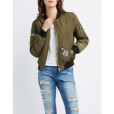 California Patched Zip-Up Bomber Jacket