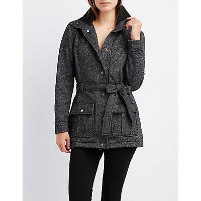 Fleece Belted Funnel Jacket