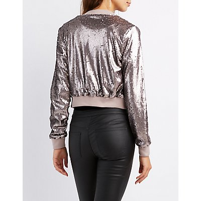 Sequin Cropped Bomber Jacket