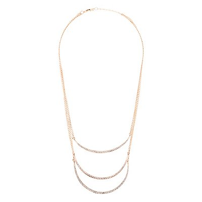 Rhinestone Curved Bar Layered Necklace