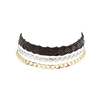 Mixed Chain Choker Necklaces - 3 Pack