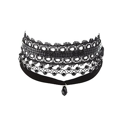Lace, Tattoo & Velvet Choker Necklaces - 3 Pack