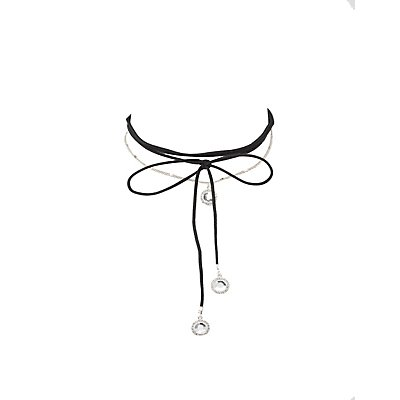 Charm Choker & Y Necklace - 2 Pack