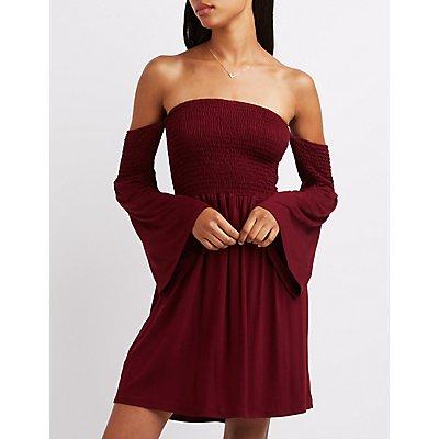 Smocked Off-The-Shoulder Dress