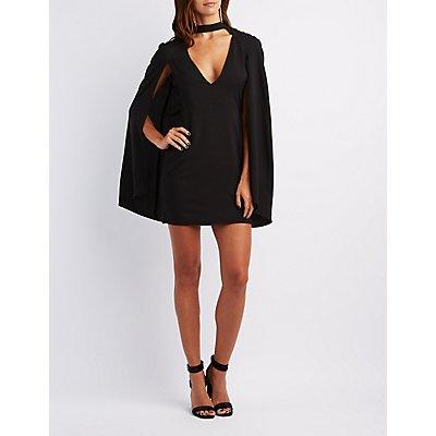 Structured Cape Bodycon Dress