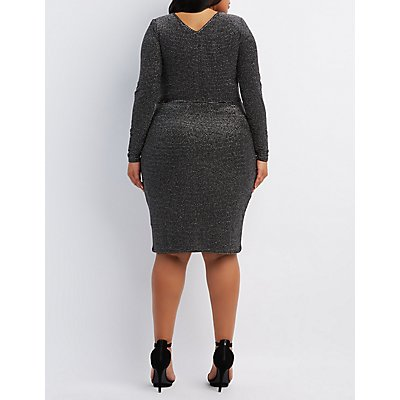 Plus Size Shimmer Striped Bodycon Dress