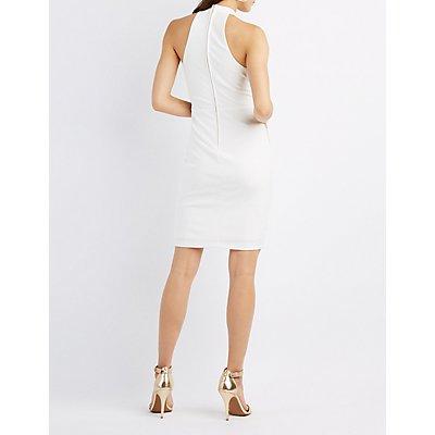 Shimmer-Trim Mock Neck Bodycon Dress