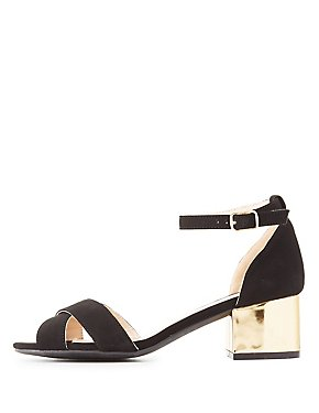 Qupid Two-Piece Gold-Heel Sandals
