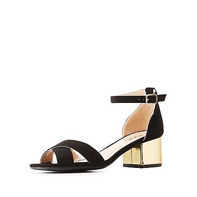 Qupid Two-Piece Gold-Heel Sandals
