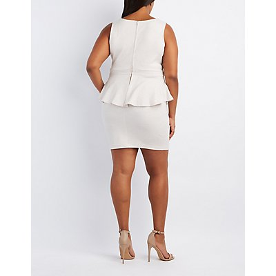 Plus Size Shimmer Cut-Out Peplum Dress