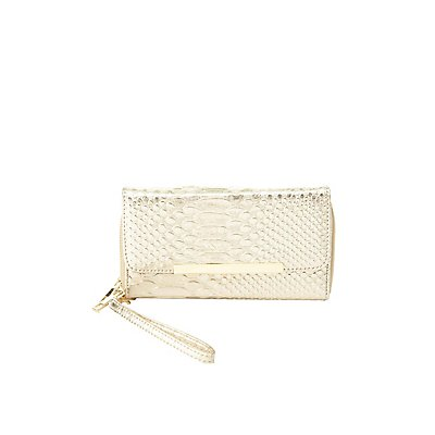Embossed Gold-Tipped Double Zipper Wristlet Wallet