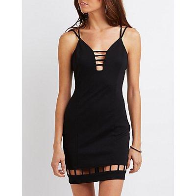 Strappy Lattice-Inset Bodycon Dress