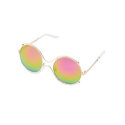 Round Metal-Trim Sunglasses
