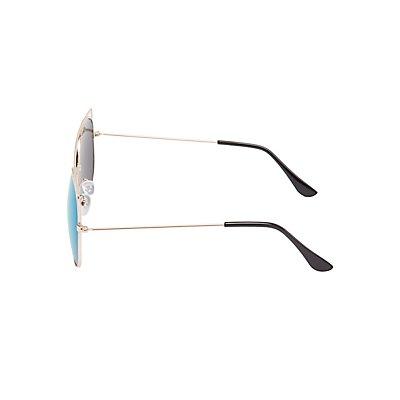 Round Reflective Aviator Sunglasses