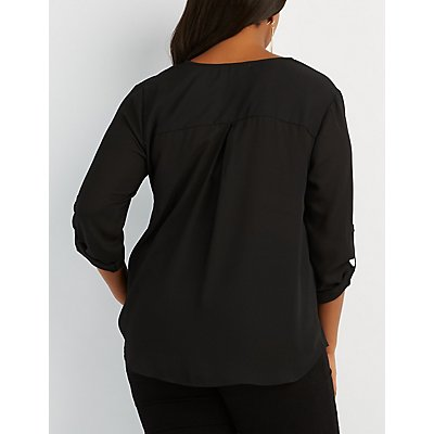 Plus Size Zip-Front Chiffon Top