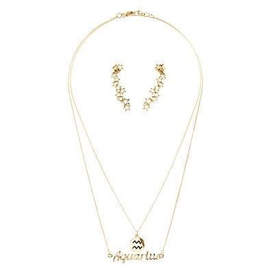 """Aquarius"" Zodiac Necklaces & Ear Cuffs Set"