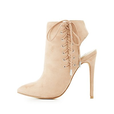 Corset Lace-Up Slingback Booties