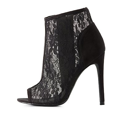 Sheer Lace Peep Toe Booties