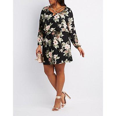 Plus Size Floral Strappy Dress