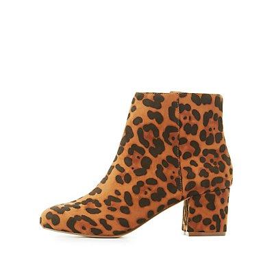Leopard Low Heel Ankle Booties