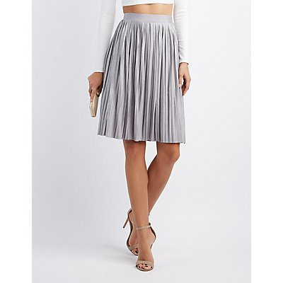 Shimmer Pleated Midi Skirt