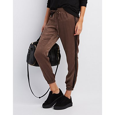 Striped-Side Silky Jogger Pants