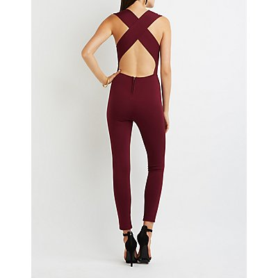 Plunging Cross-Back Jumpsuit