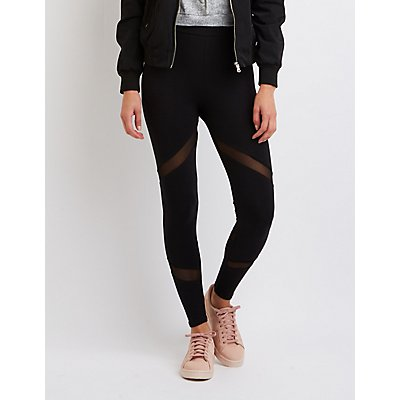 High-Rise Mesh-Trim Leggings