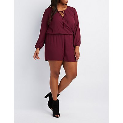Plus Size Surplice Tied Romper
