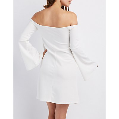 Off-The-Shoulder Bell Sleeve Shift Dress