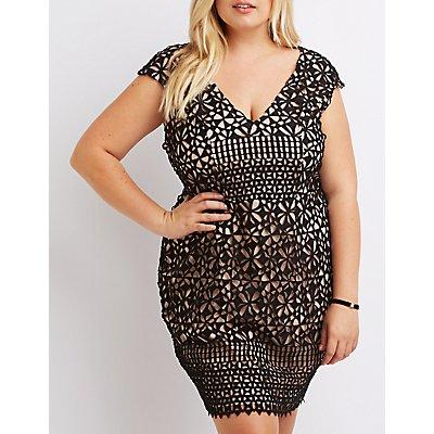 Plus Size Crochet Lace Bodycon Dress
