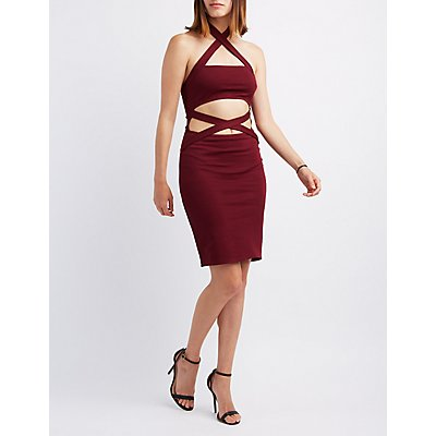 Halter Cut-Out Bodycon Dress