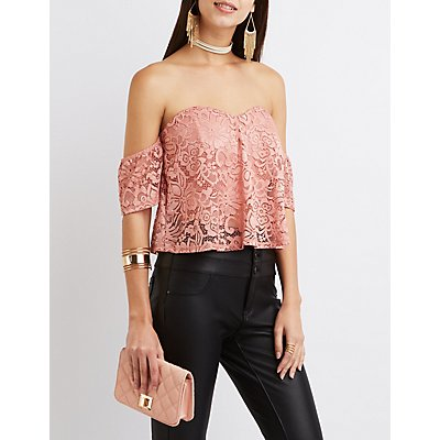 Lace Off-The-Shoulder Notched Crop Top