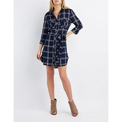 Belted Plaid Shirt Dress