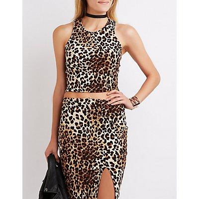 Leopard Caged Crop Top