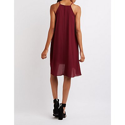 Bib Neck High-Low Shift Dress