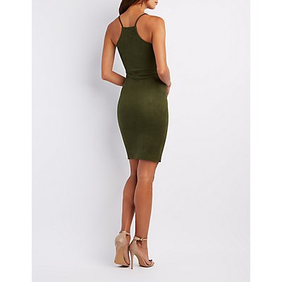Faux Suede Lace-Up Midi Dress