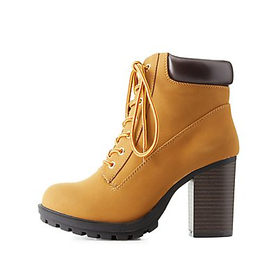Lace-Up Lug Sole Combat Booties