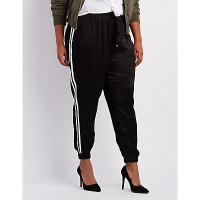 Plus Size Striped-Side Silky Jogger Pants