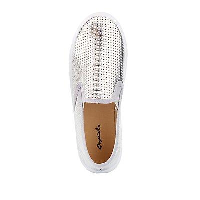 Qupid Metallic Perforated Sneakers