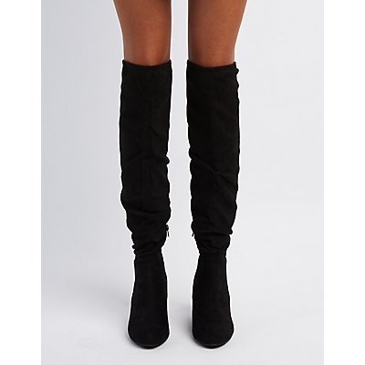 Qupid Over-The-Knee Wedge Boots