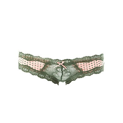 Printed Lace-Trim Hipster Panties