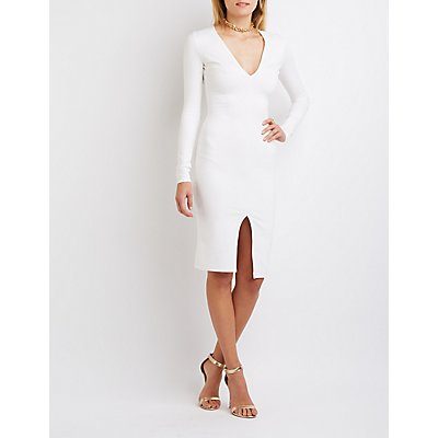 Plunging Bodycon Slit Dress