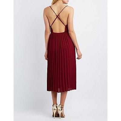 Surplice Pleated Maxi Dress